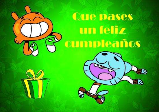 felicitando cumpleaños con gumball